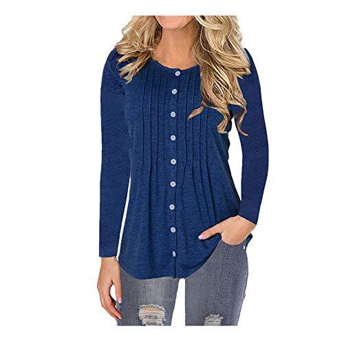 Nobrand Damen-T-Shirt, Rundhalsausschnitt, Knopfleiste, langärmelig Gr. XXL, dunkelblau