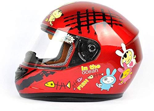 LBWNB Kinderhelm elektrisches Fahrrad Cartoon Unisex Vollvisierhelm (Farbe: rot)