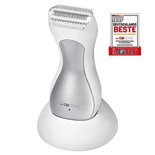 Clatronic LS 3658 Lady-Shaver, silber, sanfte Haarentfernung an Beinen, Achseln und Bikinizone, Akkubetrieb, Spritzwassergeschützt (IPX4), LED-Ladeanzeige