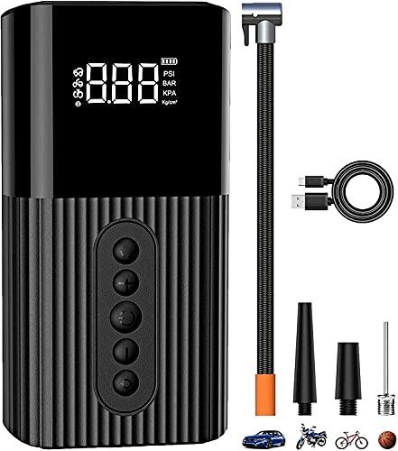ACPURI Compresor Aire Coche Portátil - 6000mAh Batería Recargable, Mini Bomba de Bicicleta electrica, Multifuncional para Coche, Moto, Pelotas y etc, con Pantalla LCD Digital y Linterna LED