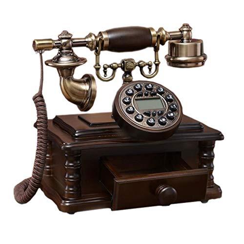 Telefono retro Doble Campana cajón Marrón Botón de Metal de Madera Maciza Moda Pastoral Asiento Creativo Oficina doméstica Europea 23 cm * 24 cm MUMUJIN