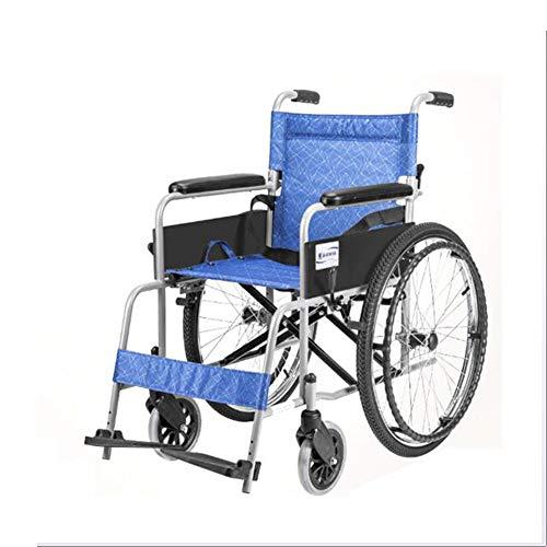 Wheelchair Estructura Ligera Y Plegable De Aluminio para Silla De Ruedas con Pasamanos Y Reposapiés Antideslizantes