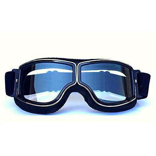 HONCENMAX Vintage Brille Sport Sonnenbrillen Helm Steampunk Brillen Motocross im Freien Rennfahrer-Motorrad Flieger Pilot Stil Cruiser Scooter Brille Retro für Kinder Männer und Frauen