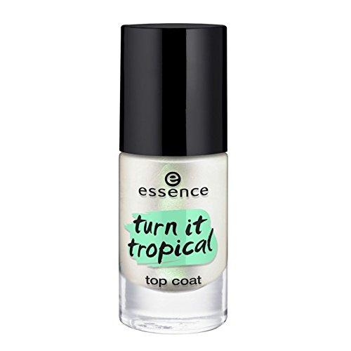 Essence Turn it Tropical Top coat aux nuances de vert et fini irisé tout en subtilité transforme le vernis préféré en une manucure exotique, n°01 My p