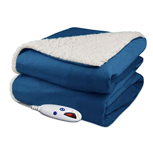 Biddeford Velour Sherpa Electric Heated Warming Throw...