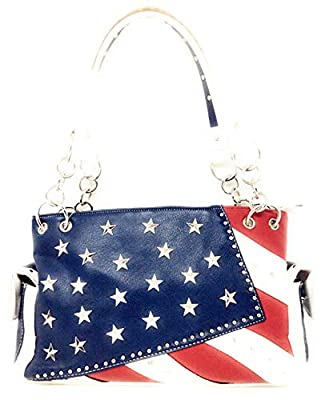 American Flag Rhinestone Concealed Carry Handbag,Purse in Multi Colors (White)