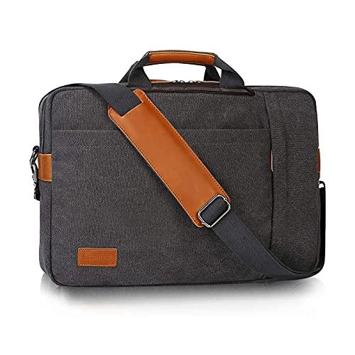 Estarer Konvertierbare Laptop-Umhängetasche, wasserabweisend, 3-in-1-Rucksack, 17,3 Zoll (43,8 cm), Segeltuch, Umhängetasche, Aktentasche für Damen oder Herren