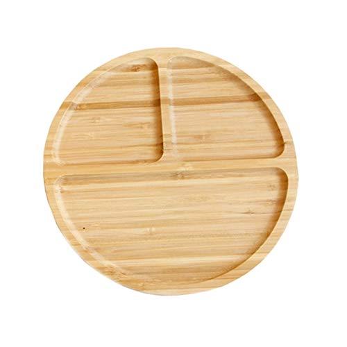 Plato redondo de bambú para alimentos con tres rejillas, platos de comida occidental, redondo, postre y fruta secada, decoración del hogar (color: color de madera, tamaño: mediano)