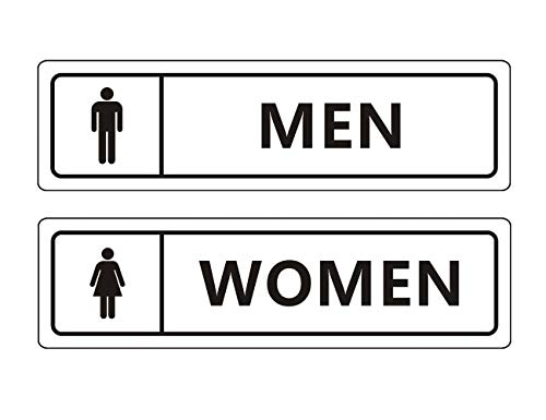 """Men's and Women's Restroom Signs for Door Wall, 7"""" x 2"""" Self-adhesive Aluminum Signs for Business and Home, Easy Mounting"""