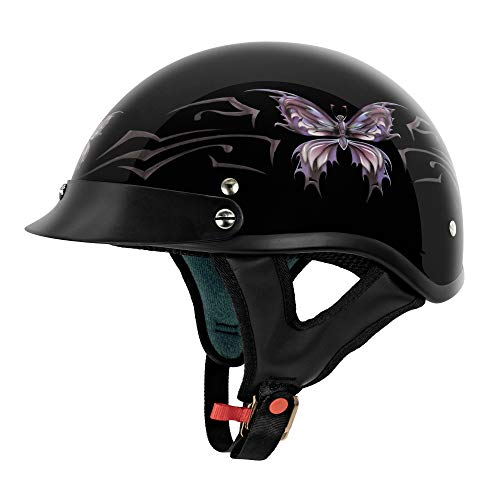 VCAN Cruiser Intricate Butterfly Motorcycle Half Helmet (Gloss Black