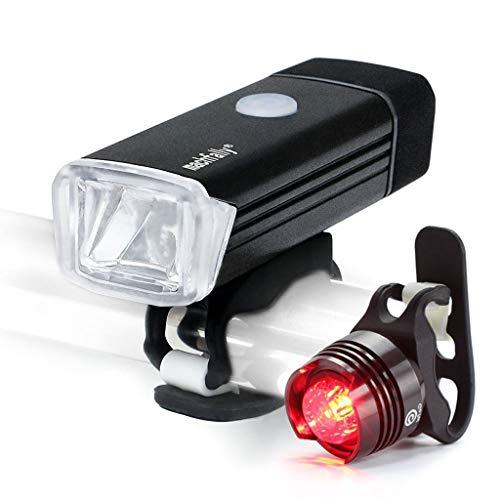 JINJIN Fietsverlichtingsset, USB oplaadbare koplamp Duits Standard Light Mountain Bike Riding Gem achterlichten set rijaccessoires