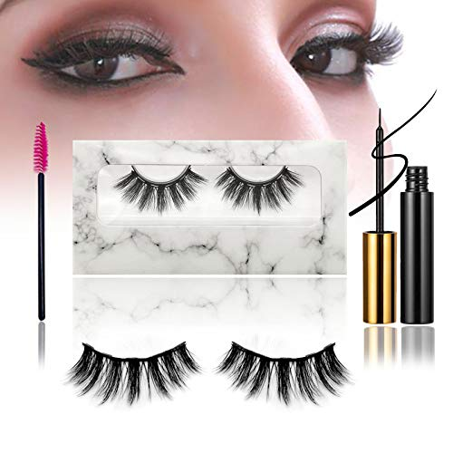 Reusable Magnetic Eyelashes with Eyeliner Kit, 1 Pairs 3D Natural Look False Magnetic lashes Set, 1 Tubes Long Lasting Magnetic Eyeliner with Brush (No Glue Needed) (DB29)