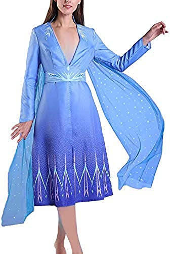 Disfraz de Princesa para Mujer Adulta Carnaval de Elsa Halloween 2 Azul...