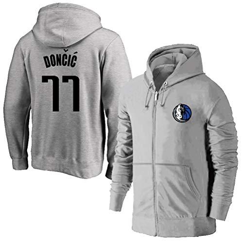 Luka Doncic # 77 Zipper Pullover Basketball Training Hoodie, Dallas Mavericks Männer Langarmshirt mit Kapuze Sweatshirt (Color : Gray, Size : M)