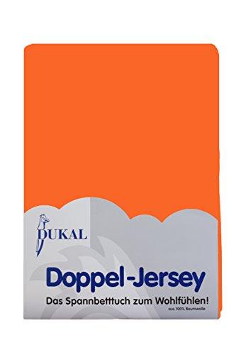 Dukal, Spannbettlaken für Split Topper, 180x200 cm, aus hochwertigem DOPPEL-Jersey (100% Baumwolle), Farbe: orange