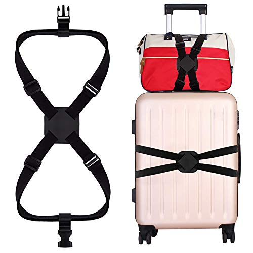 バッグとめるベルト 旅行便利グッズ スーツケース ベルト ゴム 軽量 荷物用弾力固定ベルト ずり落ち防止 出張 トラベル ワンタッチ式ベルト 荷物ストラップ 長さ調整可能 ブラック