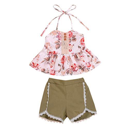 2Pcs Vêtements De Bébé D'Été Filles Bébé Définit Sling Floral Tops Armée Green Shorts Tenues Fraîches