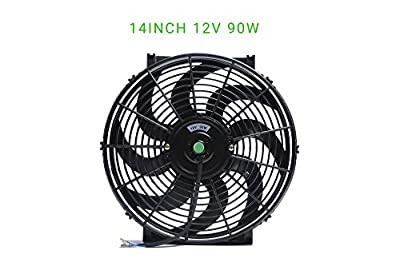 Engine Radiator Cooling Fan 14 Inch Curved Blade Ultra Thin Universal High Performance 12V 90W Motor?Radiator Fan With Fan Mounting Kit?Puller and Pusher Design?