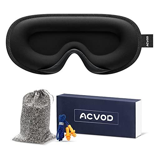 ACVOD 3D Schlafmaske, Hautfreundlich Lycra Augenmaske für Herren und Frauen, Lichtblockierende Schlafbrille für Seitenschläfer mit verstellbarem Band für Reisen/Nickerchen/Schlafen (Shwarz-2)
