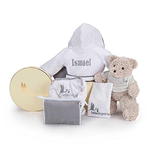 BebeDeParis Canastilla regalo bebé Mi Albornoz Bordado Gris- Cesta para bebés con Albornoz personalizado con el nombre del bebé- regalo de nacimiento ideal