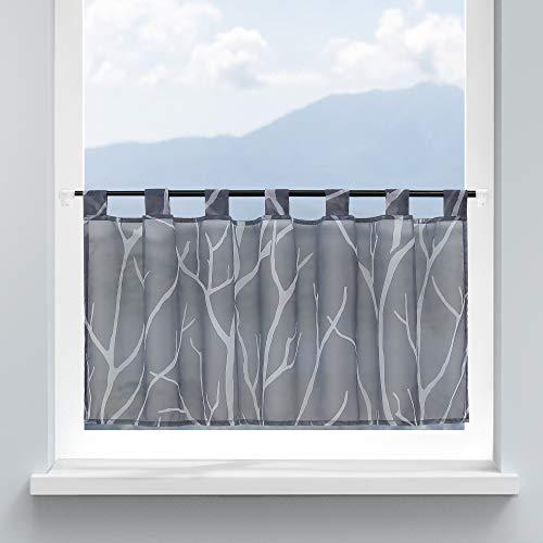 HongYa Scheibengardine Küche Voile Bistrogardine mit Schlaufen Transparente Gardine für Kleinfenster Äste Muster H/B 45/90 cm Grau