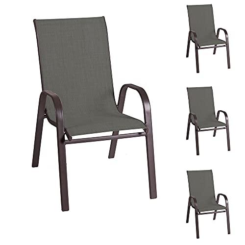 Set de 4 sillas de jardín de diseño Nerea de Acero y textileno Marrones de 56x68x93 cm - LOLAhome