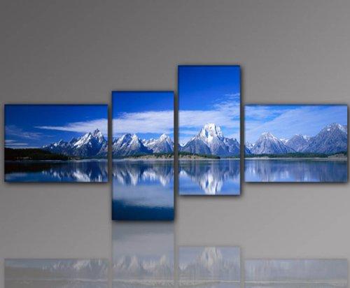 WOW - Topaanbieding! (Mountain Lake-55 x 160 cm) 4-delige muurschildering modern, voordelig en goedkoop. Berger Blue meer mooie en moderne kunstdruk op canvas en frame van hout. Afbeelding type decoratie voor woonkamer of slaapkamer Made in Germany - kwaliteit uit Duitsland