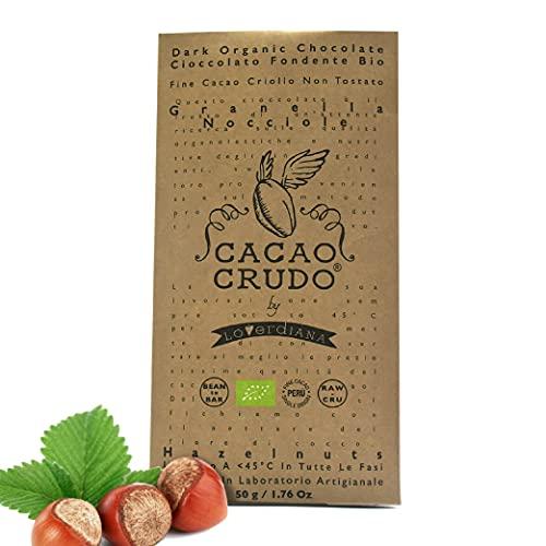 CiboCrudo Tavoletta di Cioccolato Crudo alla Granella di Nocciola Tonda Gentile Romana, Bio, Cacao Puro 63%, Nocciole Non Tostate, Zucchero di Fiori di Cocco, Marchio Cacao Crudo – 50 gr