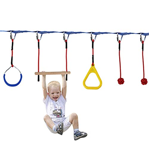 N  A Carrera de obstáculos Ninja para niños, Equipo de Entrenamiento con 7 Accesorios, incluidos Accesorios de Metal/Cabestrillo Colgante/Entrenador de Brazos para niños