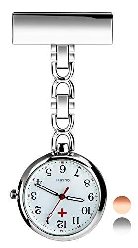 Reloj de Enfermera, Reloj de Bolsillo de Cuarzo con Broche para Colgar, Reloj de Enfermera Resistente al Agua con Silicona para Hombre Mujer Niño Niña médico Enfermeras paramédico (Silver)