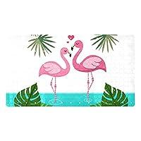 Bathtub Mat Non Slip,バスタブマット滑り止め、吸盤と排水口付きの特大滑り止めシャワーマット洗濯機で洗える浴槽シャワーマット恋の美しいフラミンゴ
