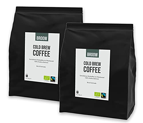 broow - Cold Brew Coffee | Bio & Fairtrade | gemahlener Röstkaffee im Filterbeutel | DE-ÖKO-006 (2 x Packung)