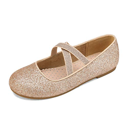 DREAM PAIRS Angie-2 Mädchen Mary Jane Strap Flache Schuhe Gold Größe 1 US Little Kid / 32 EU