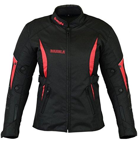 Ledershop-online B-103 Bangla Sportliche Damen Motorradjacke Touren Jacke Textil Schwarz-rot XXXL