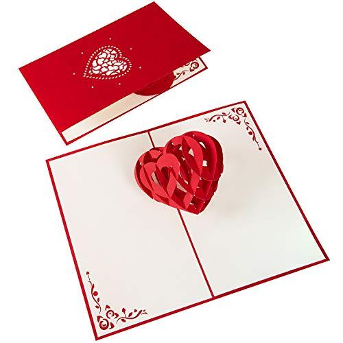 PaperCrush® Pop-Up Karte 3D Herz - Romantische Geburtstagskarte oder Valentinskarte für Sie und Ihn, Besondere Liebeskarte zum Valentinstag, Geburtstag oder Hochzeitstag für Frauen und Männer