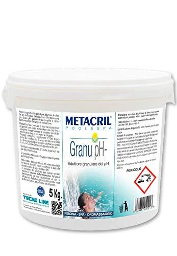 Metacril Granu PH- 5 kg. Riduttore del PH Granulare - Produzione Europea - Ideale per Piscina e Spa Idromassaggio (Jacuzzi,Teuco,Dimhora,Bestway,Intex,ECC.) Spedizione IMMEDIATA
