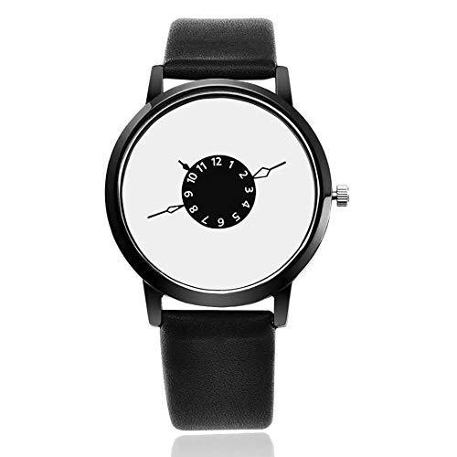 Reloj de pulsera analógico para hombre, color negro y blanco