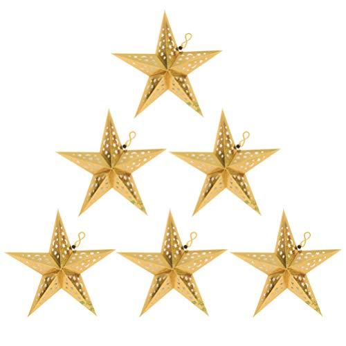 ibasenice 6 Piezas de Papel Estrella Lámpara Sombra Ahueca hacia Fuera Origami Pentagrama Papel Linterna Colgante Colgante Luz Papel Cubierta Decoración para Boda Cumpleaños Fiesta de Oro