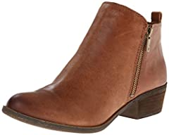Low, casual ankle boot with dual zippers at sides, upper suede leather, synthetic lining, stacked heel and rubber outsole Lightly padded foot bed Stacked block heel Metal zippers. 1.2 inch heel height
