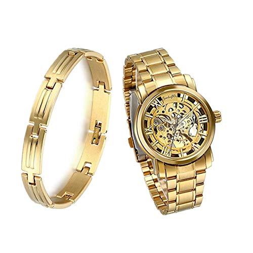 JewelryWe - Reloj de pulsera para hombre - Movimiento mecánico - Cuadrante color oro - Manecillas color oro - Pulsera de acero inoxidable color oro Set