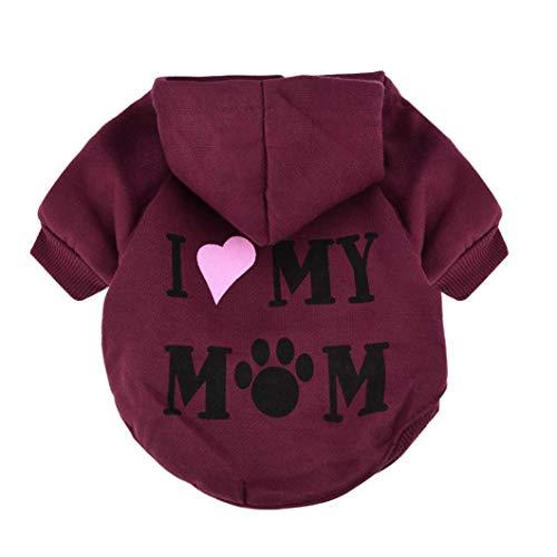 Fossrn Ropa Perro Pequeño Chihuahua Yorkshire Sudadera con Capucha - I MY MOM Invierno Ropa para Mascota Cachorro