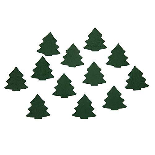 Oblique Unique® 12 árboles de Navidad de madera, grandes, decoración de mesa, decoración de Navidad, para calendario de Adviento, corona de Adviento, regalo de Navidad, color a elegir (verde)