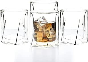 LEMONSODA Double Wall Whiskey Glasses - Hexagon Design - Set of 4 - 300 ml - Elegant Whiskey Glasses for Scotch, Single Malt - Old Fashioned Glass