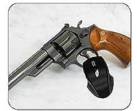 印刷された背景パターンを持つオフィスマウスパッドの武器スミスウェッソンリボルバーゲーミングマウスパッド