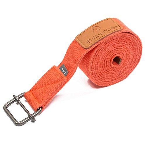 Cintura Yoga »Yaro« / Cinghia per Yoga, Cintura in 100% Cotone con Stabile Fibbia Rotonda di Metallo/Dimensione: 1,9m, 2,5m 3m / Disponibile in Tanti Colori / 1,9m / Arancione