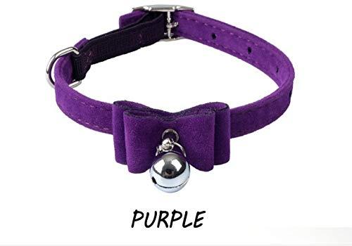 Kalmerende Bed Plush Veiligheid Elastische Bowtie met bel kleine hond kat halsband veilig zacht fluweel huisdier producten Dog Tag (Color : Purple, Size : S)