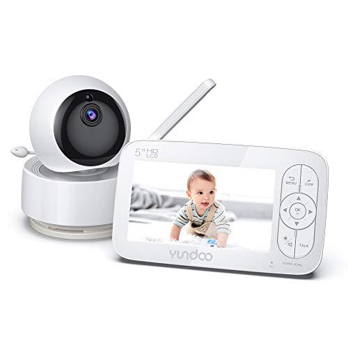 Baby Monitor, 720P 5'HD Display Video Baby Monitor con cámara y audio, pantalla IPS, rango de 900 pies, audio bidireccional, zoom con un clic, visión nocturna y monitor térmico