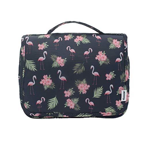 Kulturbeutel Frauen Kulturtasche Damen zum Aufhängen Waschtasche Toilettentasche Kosmetiktasche Flamingo Tasche mit Haken/Handgriffe wasserdicht für Pflegeprodukte/Make UP/Reise (Flamingo-01)