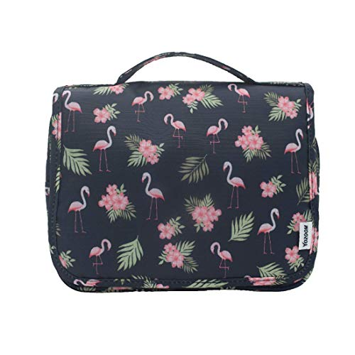 YOZOOM Hanging Travel Toiletry Bag for Women with Flamingo Pattern 24cm 4.8L (Navy blue)