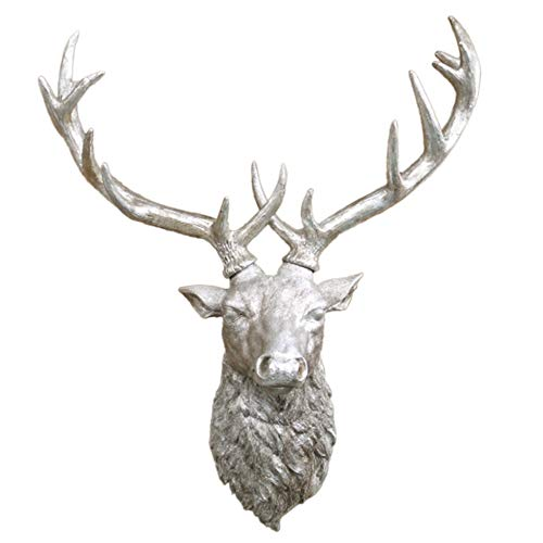 Daisy Bumbles Stags Head Wall Decoration Reindeer Antlers Silver Antique Vintage Style indoor Ornament Home